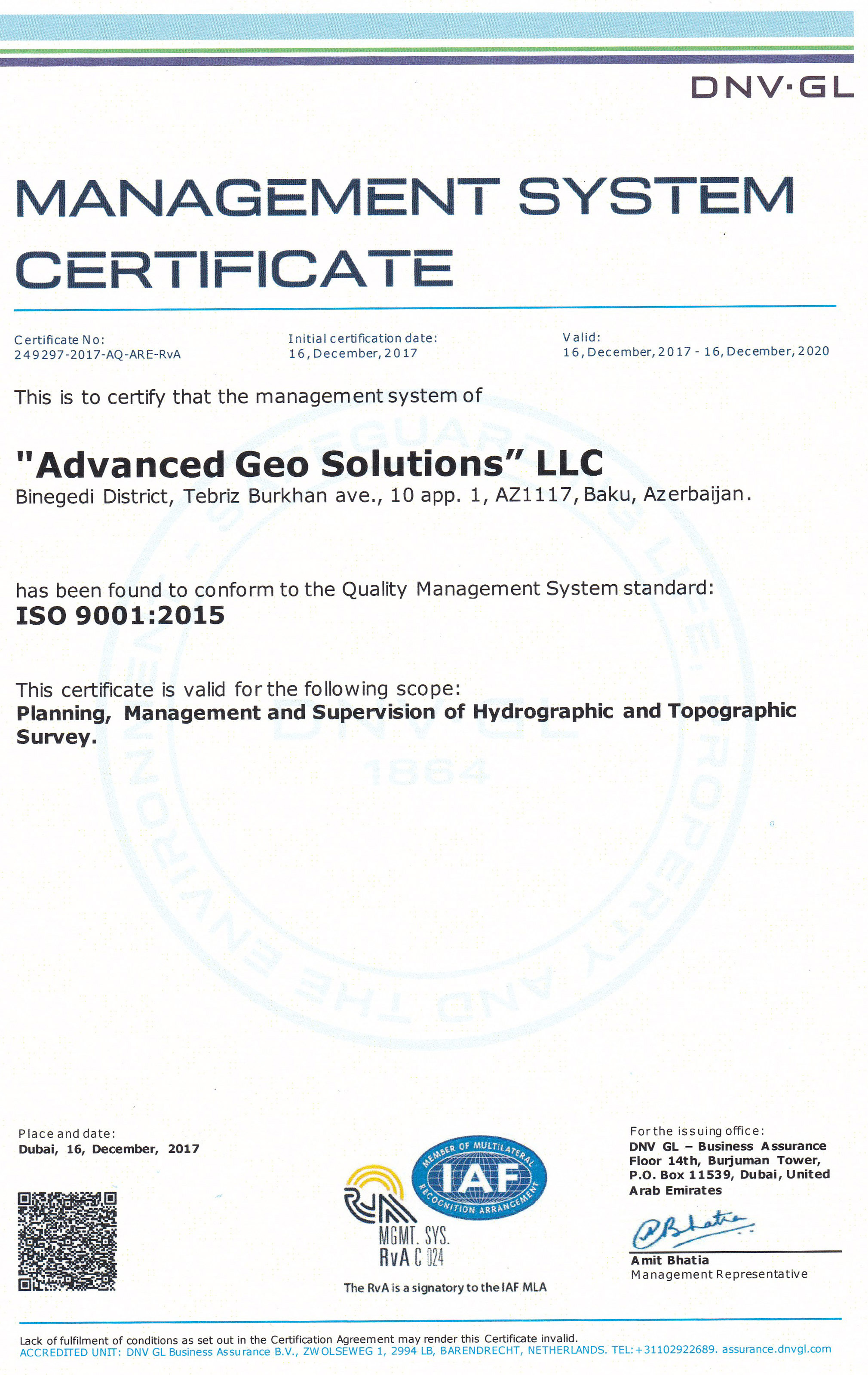 AGS Management System Certificate ISO9001-2015-2